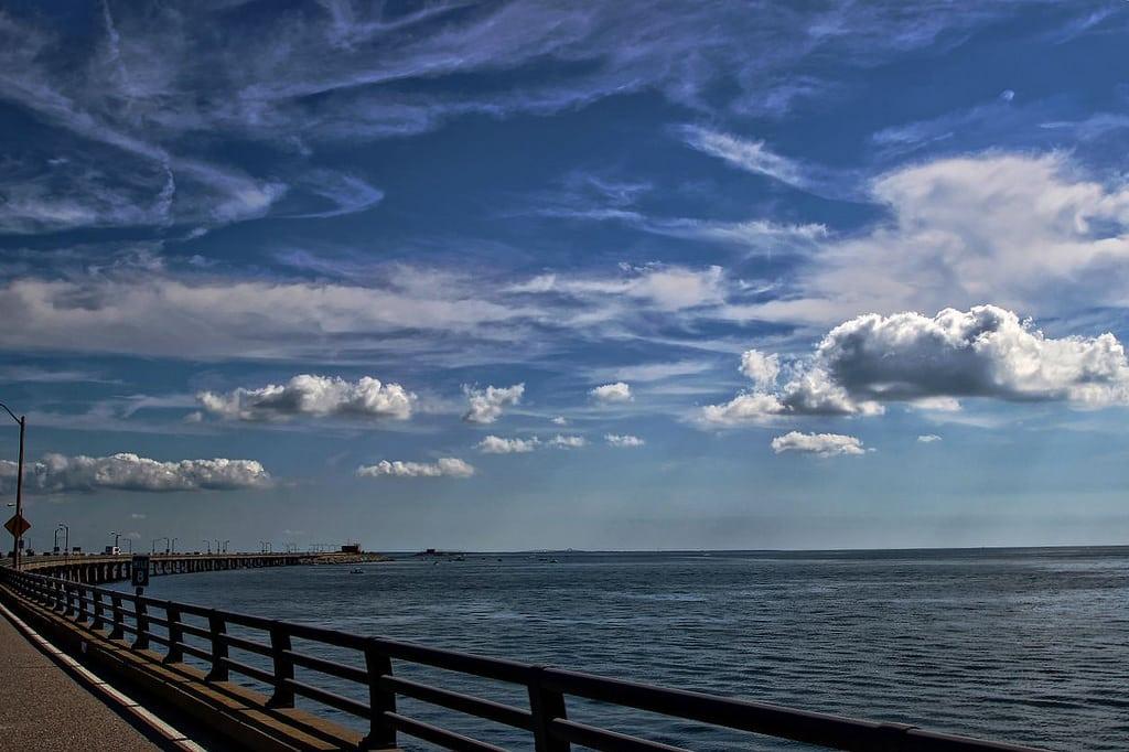 A bridge crossing over the ocean.