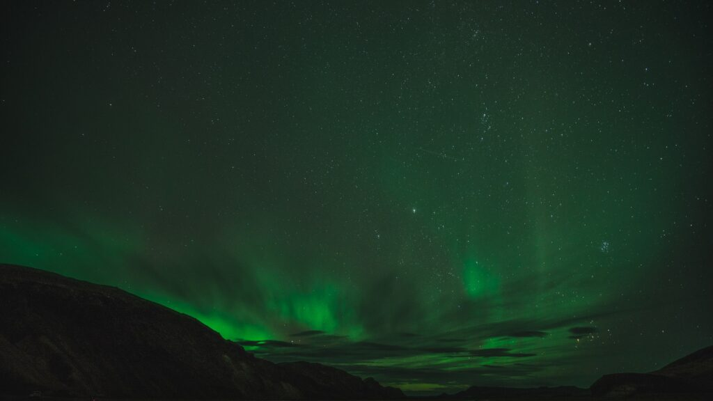 Northern Lights over a mountain