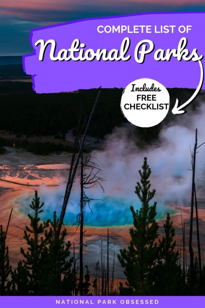 Looking for an updated list of national parks by state? We have a complete list of the 62 National Parks along with a free printable list of National Park.  61 National Parks / 60 National Parks / National Park Checklist / Checklist National Parks/ National Parks Checklist