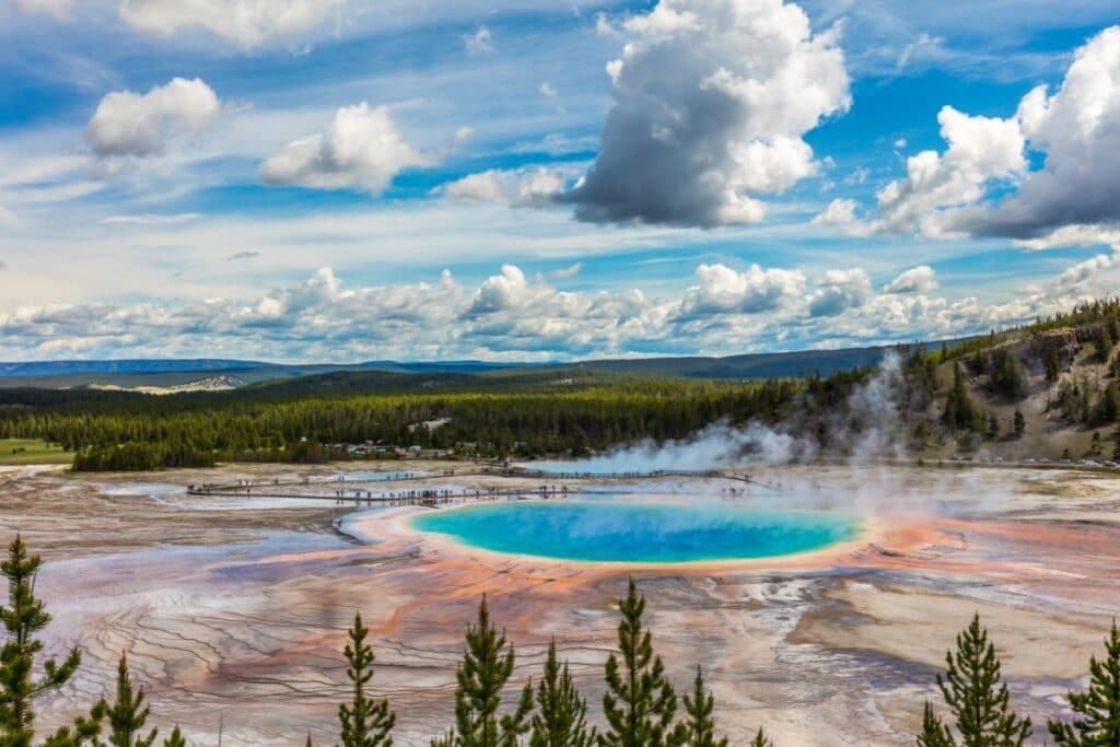 Grand Prismatic Spring in its rainbow of colors