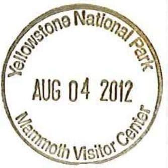 National Park Passport Stamp - Mammoth Visitor Center