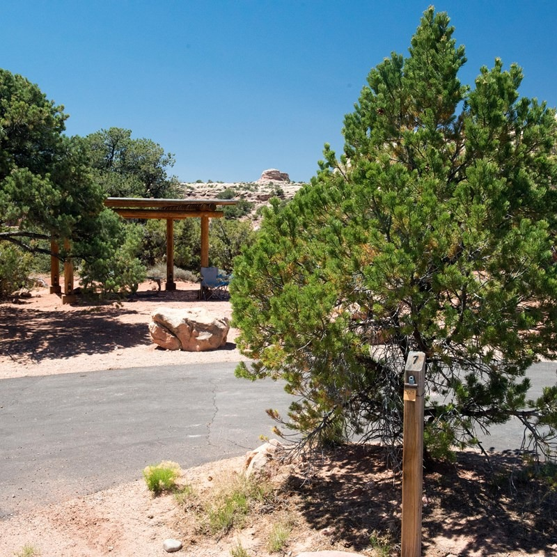 Canyonlands camping signpost next to tree with a shade shelter in the background.
