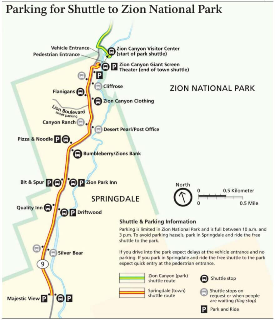 Map of the Springdale Shuttle route