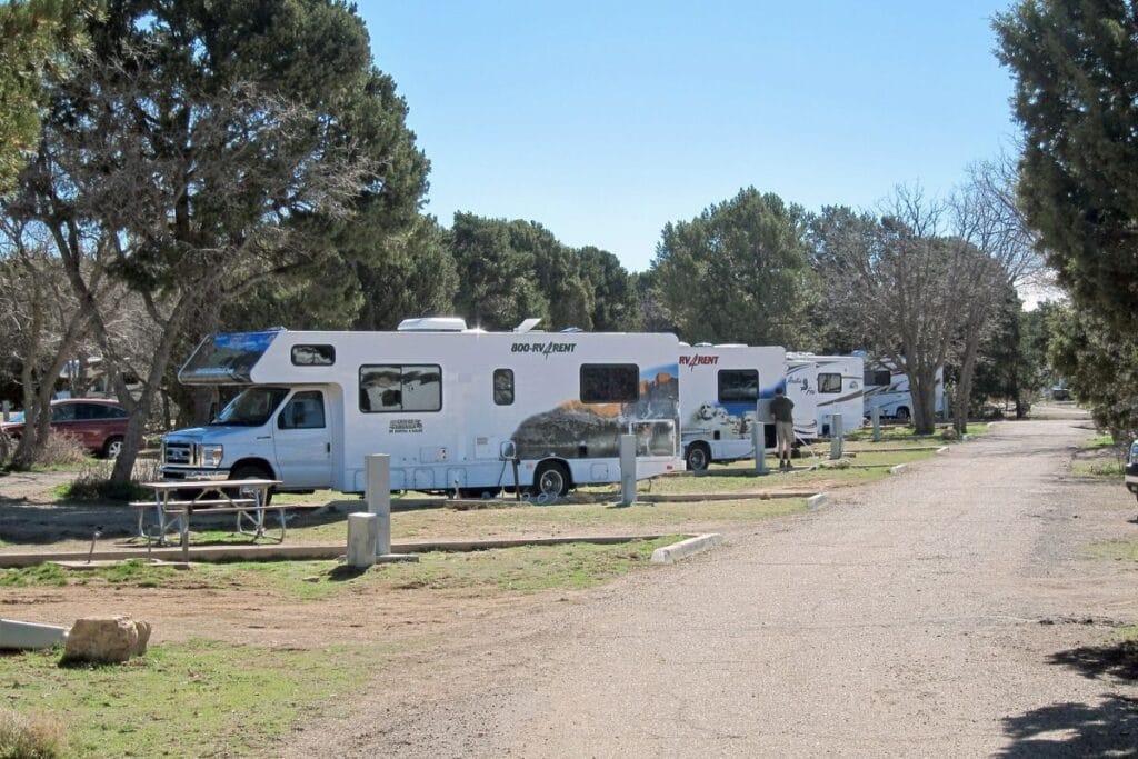 RV's parked in a row in Trailer Village RV Park.