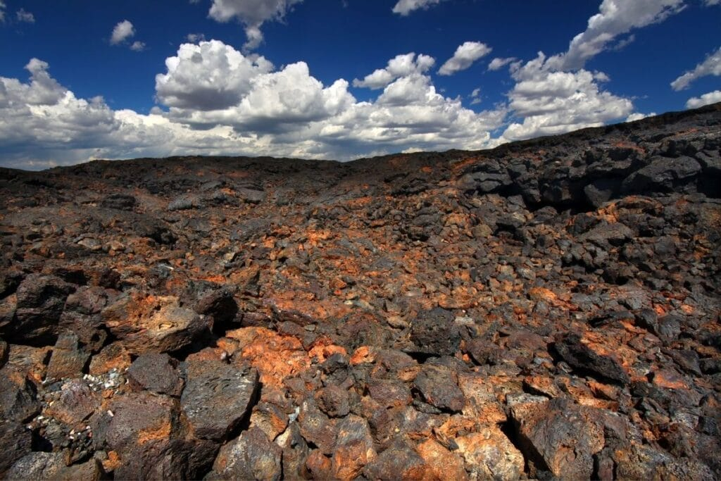 Black and orange colored rocks as far as the eye can see.
