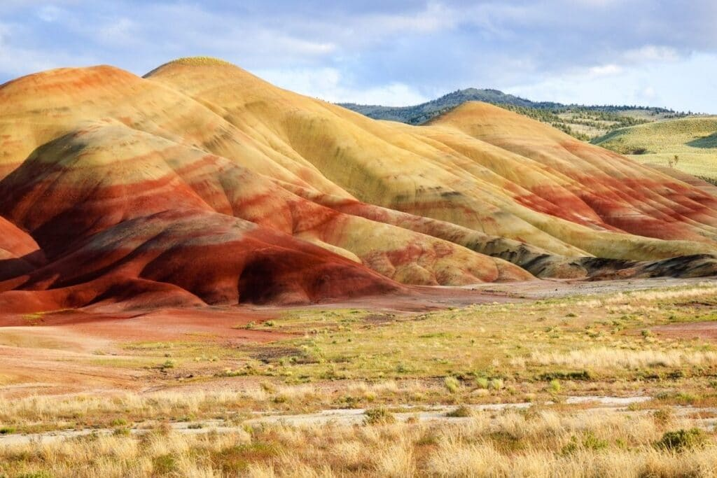 Yellow, orange, and red banded hills