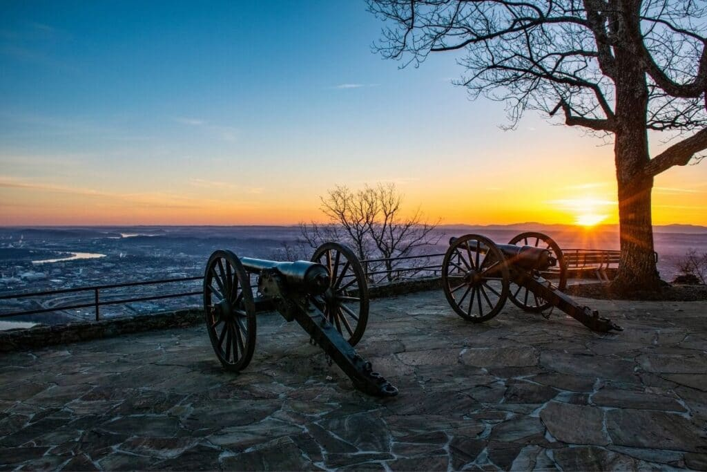 Two Civil War Cannons overlooking Chattanooga