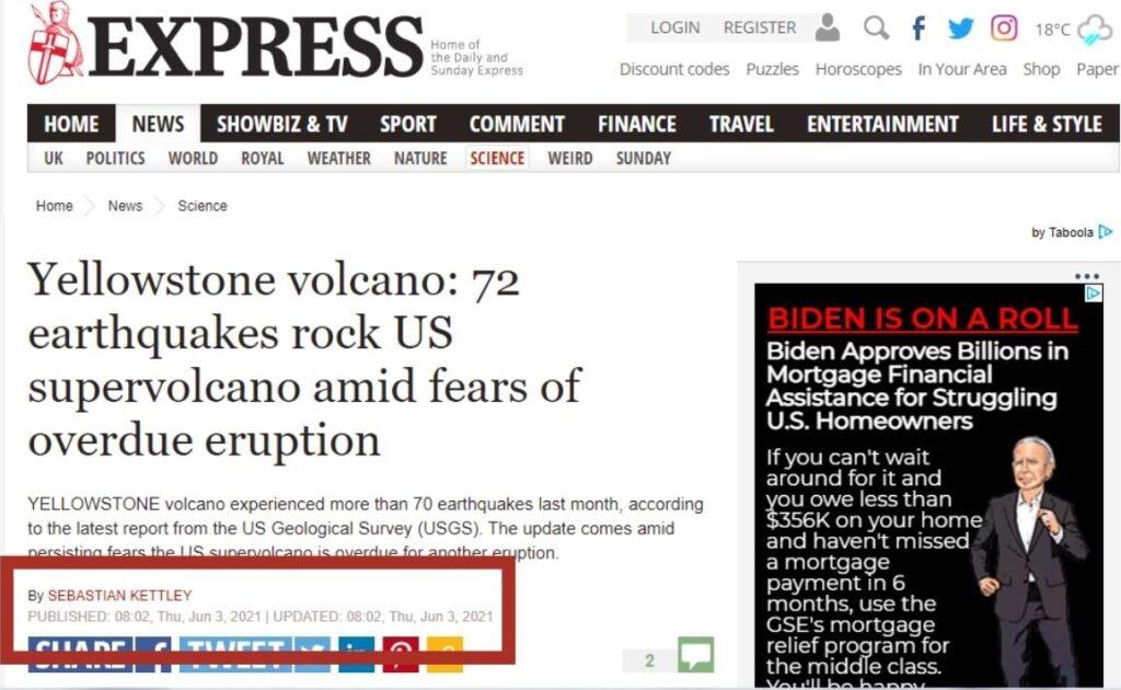 Sunday Express Screenshot of Yellowstone Article