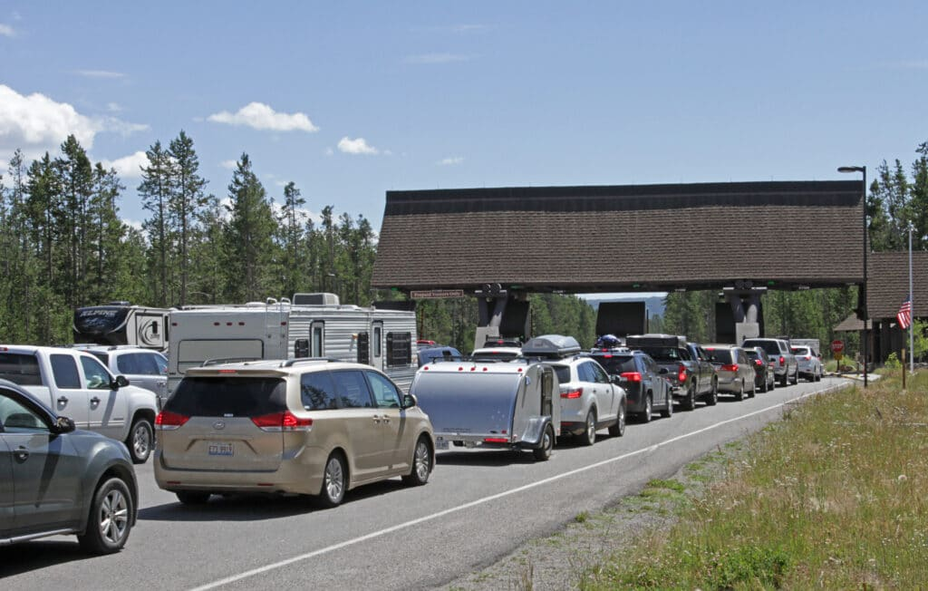 Cars lined up at the West Entrance